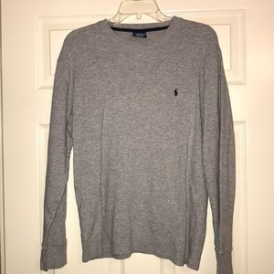 Polo Ralph Lauren Sz L Gray Knit Long Sleeve Top